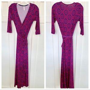 Gilli Navy and Magenta Wrap Maxi Dress